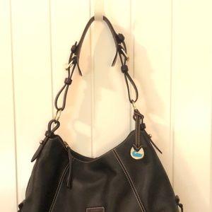 Vintage Dooney & Bourke leather handbag, dark brwn